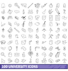 100 university icons set outline style vector image
