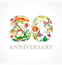 80 anniversary folk logo vector