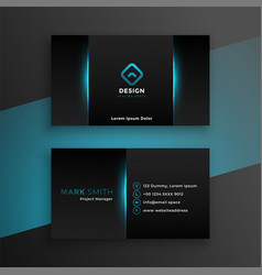 abstract black business card design with blue vector image
