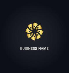 Abstract circle flower company gold logo vector