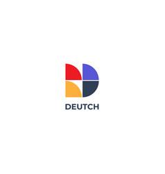 Abstract simple tiles d letter logo shape design vector