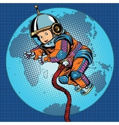 Astronaut baby Earth space vector