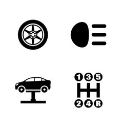 Auto parts simple related icons vector
