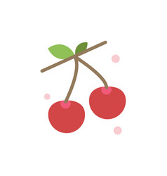berry cherry food spring flat color icon icon vector image