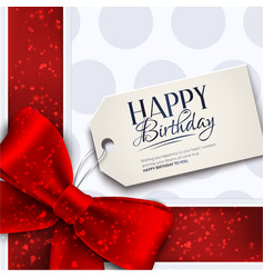 Birthday card with red ribbon and vector