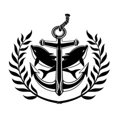 black anchor sign with dolphins vector image