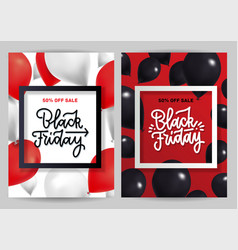 black friday sale cover set with creative bright vector image