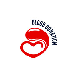 blood donation icon of heart and drop vector image
