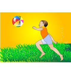 boy with multicolor ball vector image