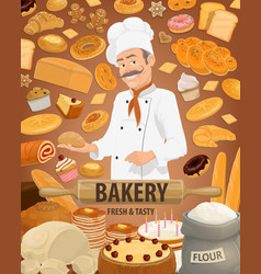 Bread pastries and baker bakery shop vector