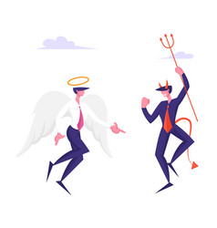 Business characters angel and demon arguing vector