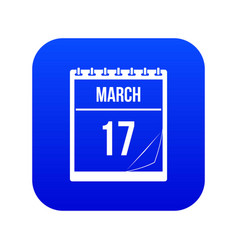 calendar with date of march 17 icon digital blue vector image