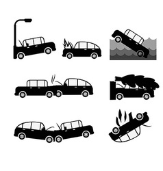 Car crash set Insurance cases car crash vector