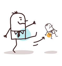 Cartoon big boss kicking out a small employee vector