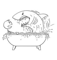 cartoon of man attacked by shark in his bathroom vector image