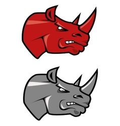 Cartoon red and gray rhinoceros mascots vector image