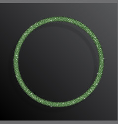 circle frame green sequins glitter sparkle dot vector image
