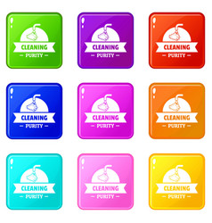 Cleaning purity icons set 9 color collection vector