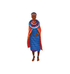 Cute beautiful african aborigine woman in textile vector