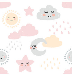 Cute childish seamless pattern in delicate pastel vector