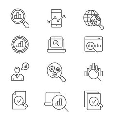 data analysis line icons set black vector image