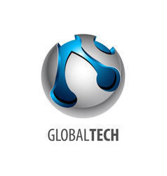 digital sphere global link technology logo vector image