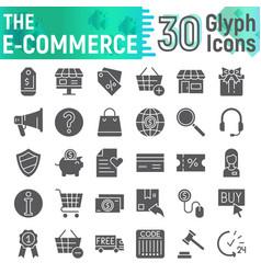E-commerce glyph icon set shopping symbols vector
