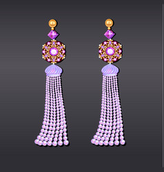 Earrings from beads of pearl lilac gems and gold vector