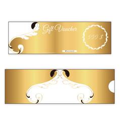 Elegant discount gift voucher of gold color leafy vector