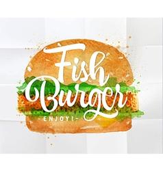 Fish burger watercolor vector image