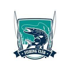 Fishing club heraldic symbol with pike fish vector