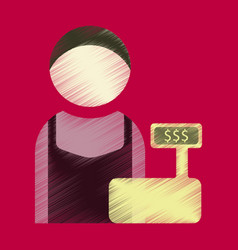 flat icon in shading style cashier vector image