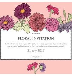 Floral horizontal invitation card vector image
