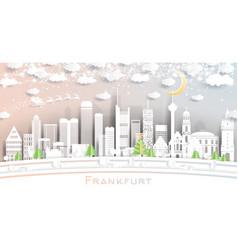 frankfurt germany city skyline in paper cut style vector image