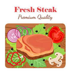 Fresh steak on cutting board with vegetables vector