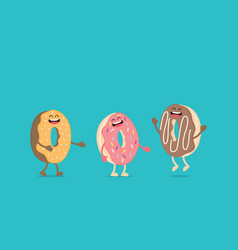 funny donut character with eyes and legs vector image