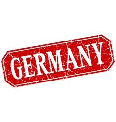 Germany red square grunge retro style sign vector image