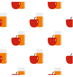 Glass of juice with red apple pattern seamless vector