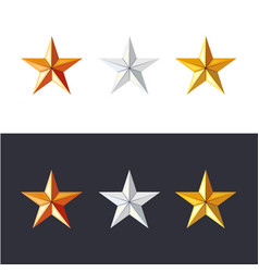 golden silver and bronze stars set game vector image