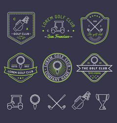 Golf logo set sports club linear vector