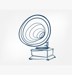 Gramophone art line isolated doodle vector