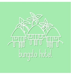 Graphic line art of bungalow hotel vector