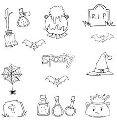 Halloween spooky doodle art vector