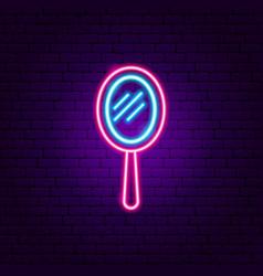 hand mirror neon sign vector image