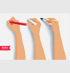 hands drawing with brush pencil and chalk vector image