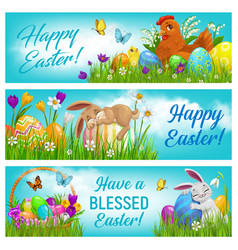happy easter cartoon banners postcards set vector image