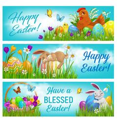 Happy easter cartoon banners postcards set vector