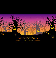 happy halloween seamless haunted forest vector image