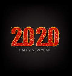 happy new year 2020 gold shiny glitter glowing vector image