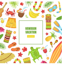 hawaiian vacation landing page template with vector image